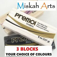 Sculpey PREMO  Polymer Clay 227g  -Your Choice of Colours - THREE BLOCKS