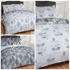 GREY AND WHITE TWIN DOUBLE REVERSIBLE DUVET COVERS AND PILLOW SET SHABBY CHIC