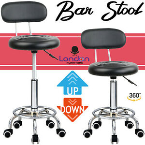 Stool Swivel Chair Black Adjustable Height Chair Office Round Desk PC Stool