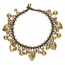 81stgeneration Brass Gold Tone Heart Charm Bead Bell Ankle Anklet Bracelet