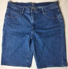 Riders Lee Womens Shorts Size 18 Blue Denim Bermuda Flat Front Jeans Pocket