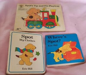 WOODEN JIGSAW PEG PUZZLE SPOT THE DOG AND 2 BOOKS BUNDLE KIDS COLLECTORS TOY