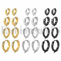 8pcs Mens Womens Stainless Steel Hypoallergenic Huggie Hoop Earrings 7/9/12/14mm