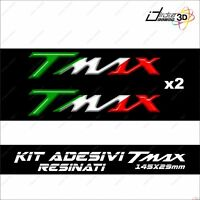 2 ADESIVI MOTO RESINATI TMAX T MAX 500 530 SCRITTA CARENE 3D SCOOTER TRICOLORE
