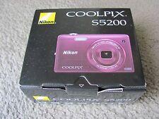 New Nikon COOLPIX S5200 16.0 MP Wi-Fi CMOS Digital Camera w/ 6x Zoom Lens (Plum)