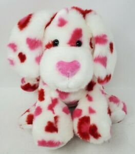 """Build a Bear HEARTS FUR YOU Valentine Puppy Dog 12"""" Plush W/ Pink and Red Hearts"""