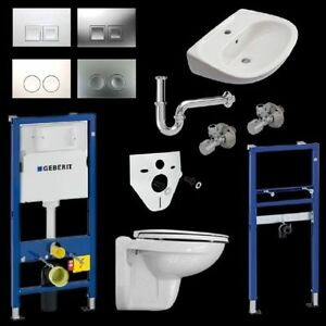 Komplettset Vitra WC mit WC-Sitz und Waschtisch inkl. Geberit Vorwandelemente