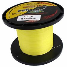 GSR PEFIBER BRAID FISHING LINE 6LB 300M, YELLOW MADE FROM 100% UHMWPE DYNEESI