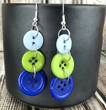 Blue Green Button Long Dangle Earrings Handmade Triple Different Sizes