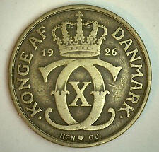 1926 Alum Bronze Denmark 2 Kroner Coin Currency VF