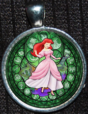 Disney Princess Ariel Green Bfgd Little Mermaid Stained Glass Pendant Necklace