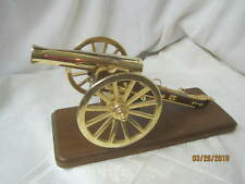 Vintage Brass Cannon on wood Stand Music Box Glory Glory Hallelujah