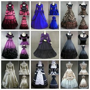 Medieval Victorian Vintage Lolita Dress Wedding Gown Halloween Costume Fancy Lot