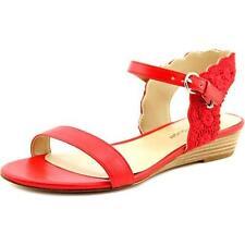 Sandali e scarpe rosse zeppa per il mare da donna 100% pelle