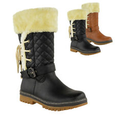 Womens Ladies Flat Winter Faux Fur Ankle Walk Boots Grip Warm Fleece Size UK