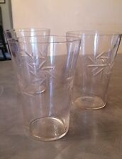 Vintage Set of 3 Small 8 Ounce Drinking Juice Glasses – Etched Clear Glass
