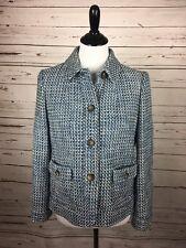 Talbots Petite Size 8 Blue White Tweed Button Jacket Blazer