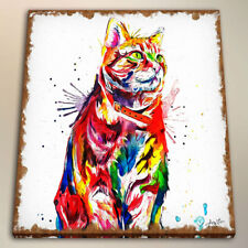 HD Watercolor Painting Art Print Colorful Tabby Cat Room Decor on Canvas 24x24