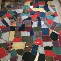 Antique Victorian Crazy Quilt 64 X 82 Wool Backing Hand Tied Oversized Stitched
