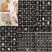 129Pcs Glitter Tattoo Stencils Temporary Girl Body Art Airbrush Painting Kit