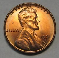 1951-D Lincoln Wheat Cent in the CH BU Range From an Original Bank Wrapped Roll