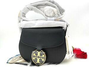 AUTH NWT Tory Burch Small Miller Metal Logo Smooth Leather Saddle Bag In Black