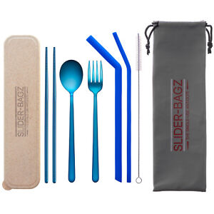 Travel Cutlery Silicone Reusable Straw Set Blue Stainless Steel Camping