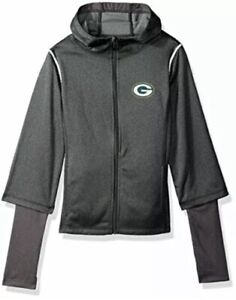 Green Bay Packers NFL Zip Up Hoodie Girls Size L 14  Layered Funnel Neck Jacket