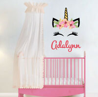 Head Unicorn Sticker Decor Baby Girls Name Wall Decal Nursery Art Vinyl SD44