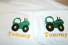 Farm Tractor Personalized Baby Infant Toddler Blanket & Bib Set