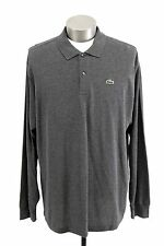 mens gray charcoal LACOSTE polo shirt rugby long sleeve pullover classic 3XL 8