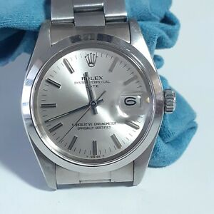 Rolex Date 34 mm Steel Silver Dial Automatic Oyster Watch 1500 Circa 1978