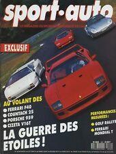 SPORT AUTO n°332 09/1989 AVEC ENCART & POSTER FERRARI F40 COUNTACH PORSCHE 959