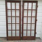 """29""""x79"""" Antique  Pine Wood Swinging Interior Door 15 Window Glass 100+ years old"""