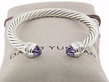 David Yurman Bracelet 7mm Cable Classic Sterling Silver Amethyst and Diamonds