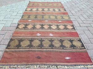 "Vintage Turkish Kilim Rug, 5x7 Rug, Area Rug, Carpet, Wool Rug, Teppiche 38""x83"""