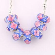 5/20Pcs Glass Spacer Murano Big Hole Lampwork Beads Fit European Charm Bracelet