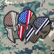 3PCS PUNISHER SKULL SPARTAN HELMET AMERICAN FLAG EMBROIDERED HOOK PATCH FOREST