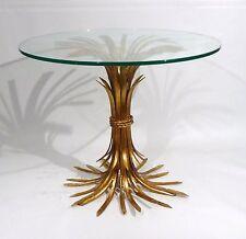 HOLLYWOOD REGENCY MID CENTURY ITALIAN D'ORO WHEAT SHEAF SIDE  TABLE   1950s