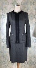 Elie Tahari Gray Wool Herringbone Designer Jacket Blazer Skirt Career Suit 6 / 2