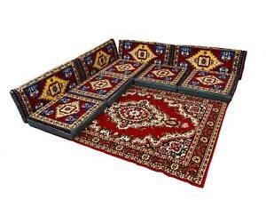 Sark Kösesi, 9-tlg. Kissenset, Orientalische Sitzecke, Sitzkissen-Set +Teppich