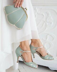 BHLDN Rachel Simpson Mimosa T Strap Heels Mint Green Size 40