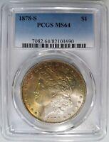 1878 S Silver Morgan Dollar PCGS MS 64 Rainbow Monster Toned Toning Toner Coin