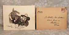 Vintage William S Hart Cowboy Print with Autograph Original Mailing Envelope