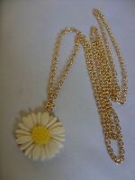 """A White Daisy Charm (27x27mm) Pendant Necklace 30"""" Long Gold Tone Necklace"""