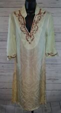 Soft Surroundings Kashmir Sequin Embroidery India Silk Ombre Long Tunic Dress XS