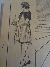 """PATRON ORIGINAL POUR LA POUPEE LISETTE  """" TABLIER A BAVETTE  1923"""