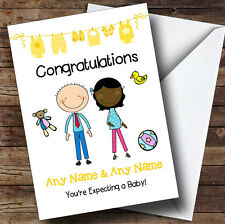 Cute Black Mum 2 Be Congratulations Expecting A Baby Personalised Pregnancy Card