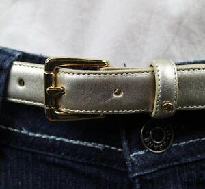 Ralph Lauren Womens Platino Silver Leather Skinny Belt NWT