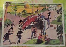 Affiche Scolaire Pédagogique l'Accident 4cv Goélette Aronde Dinky 42x30cm